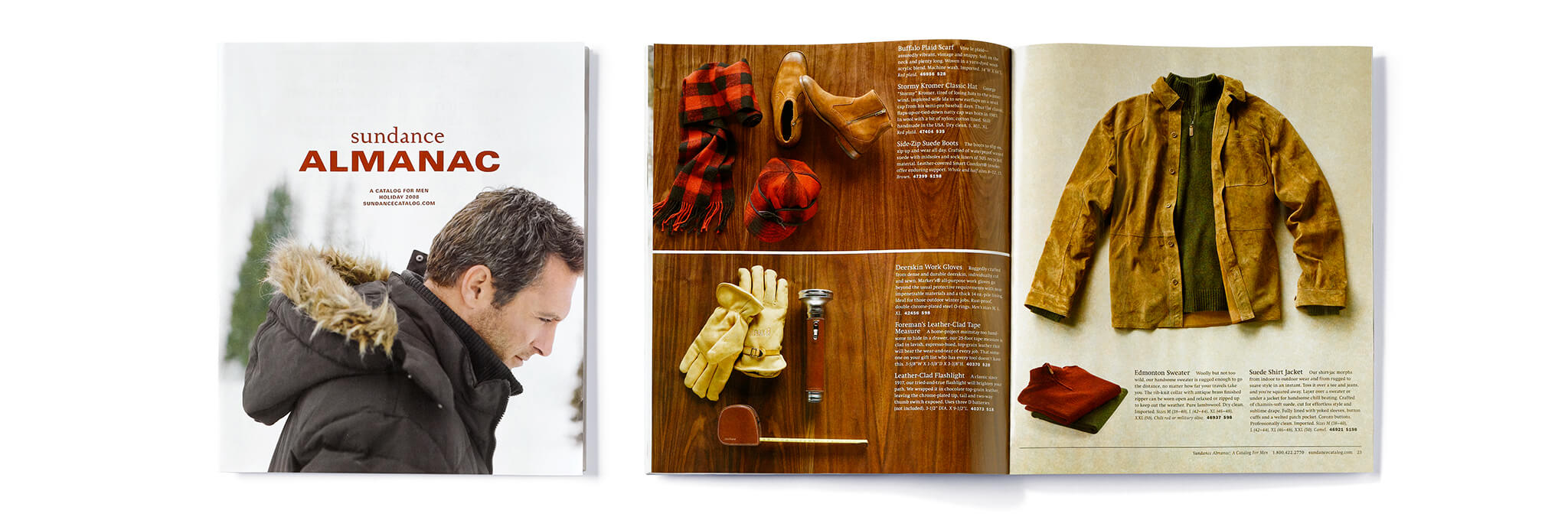 Sundance Almanac catalog cover and interior spread showing outerwear