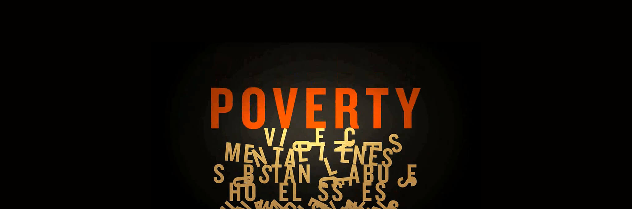 "Orange word ""Poverty"" above scrambled yellow letters on black background"