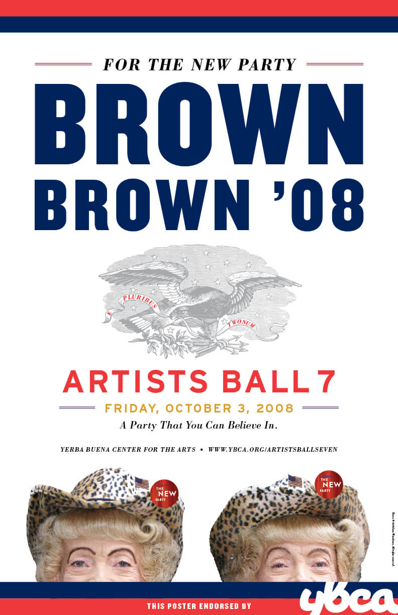 Brown '08 Poster with 2 cheetah-print hat women at the bottom