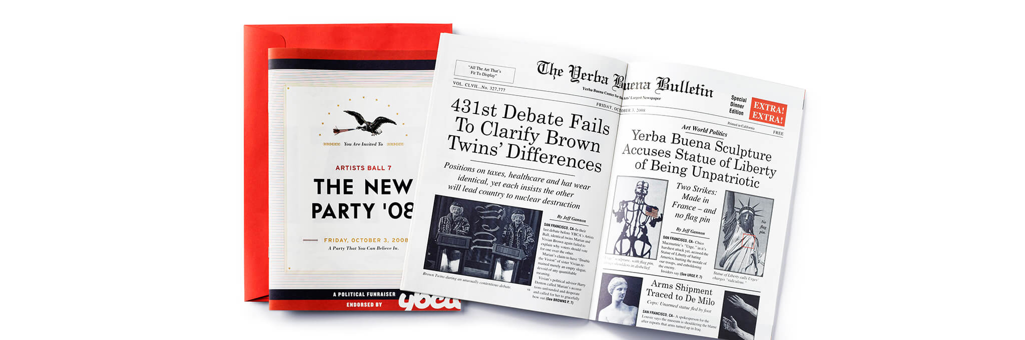 Open newspaper-style booklet for The New Party '08 atop red envelope