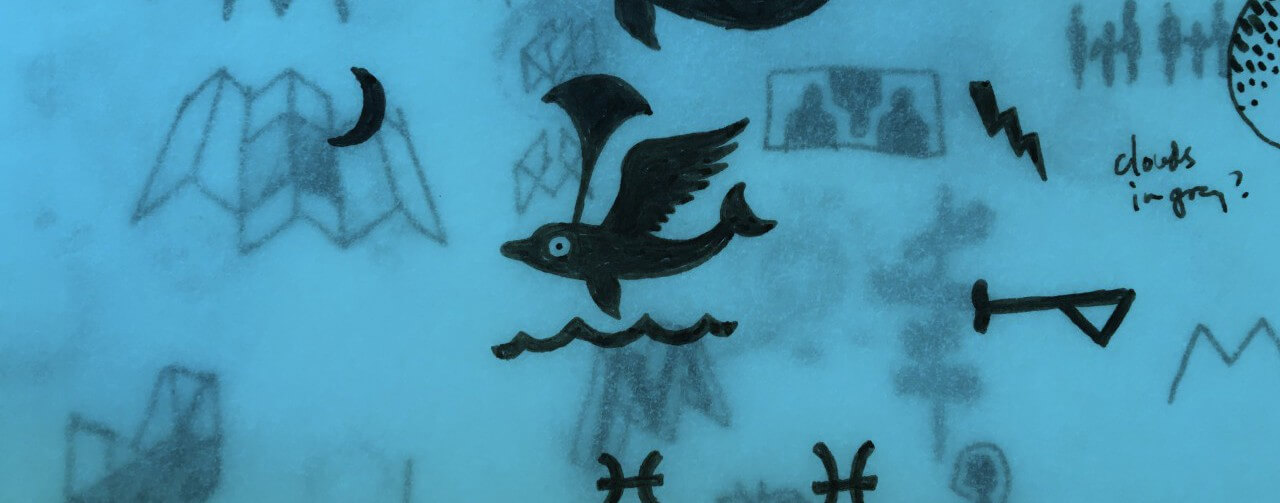 Black ink sketches on layers of blue translucent paper