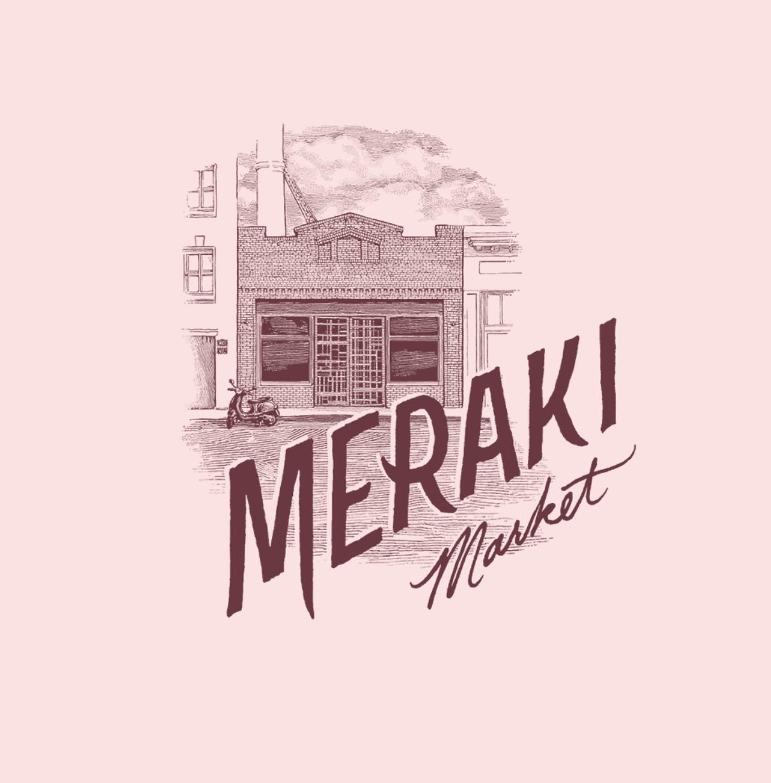 Maroon Meraki Market brick storefront with vespa logo on pink background