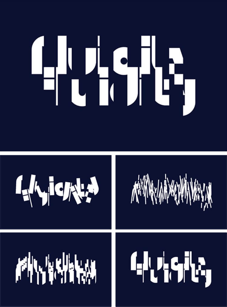 Abstract stills of Fluidity animations on navy backgrounds