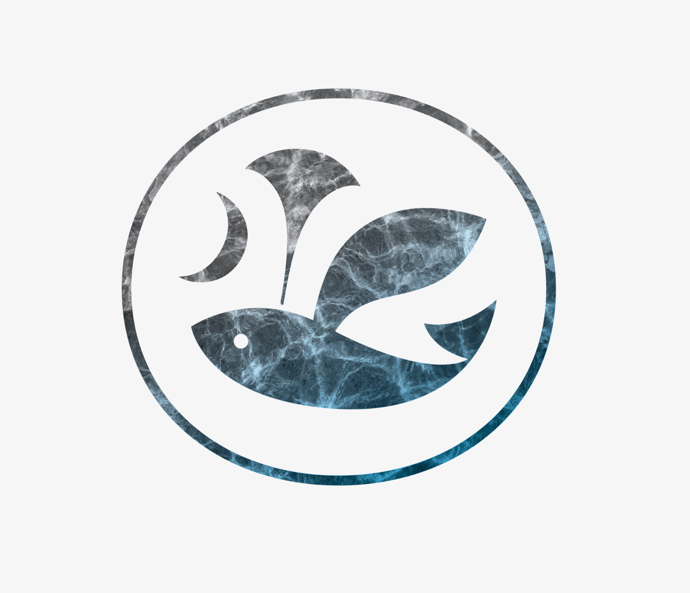 Blue-gray water texture winged-dolphin logo mark in circle