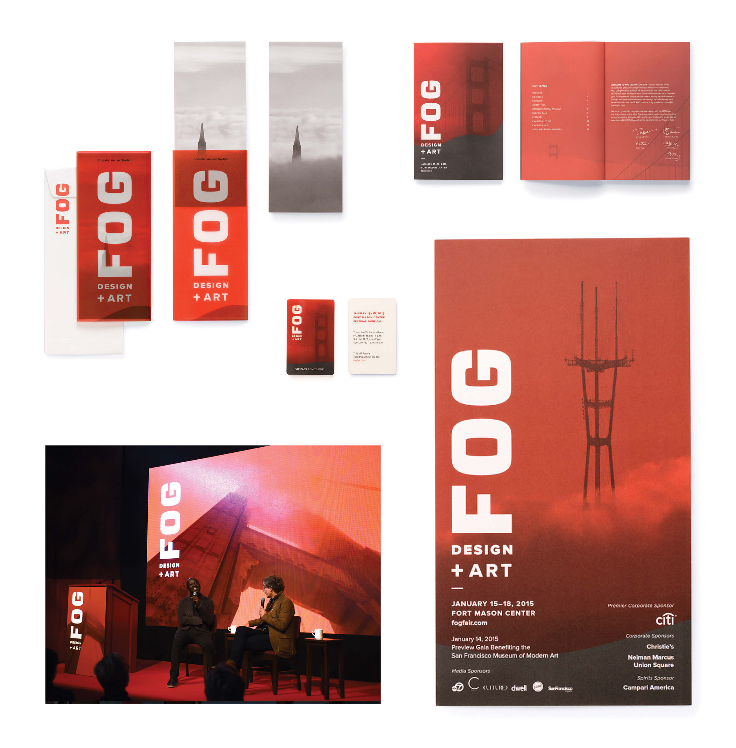 Fog Art Design Fair invitation print and digital collateral