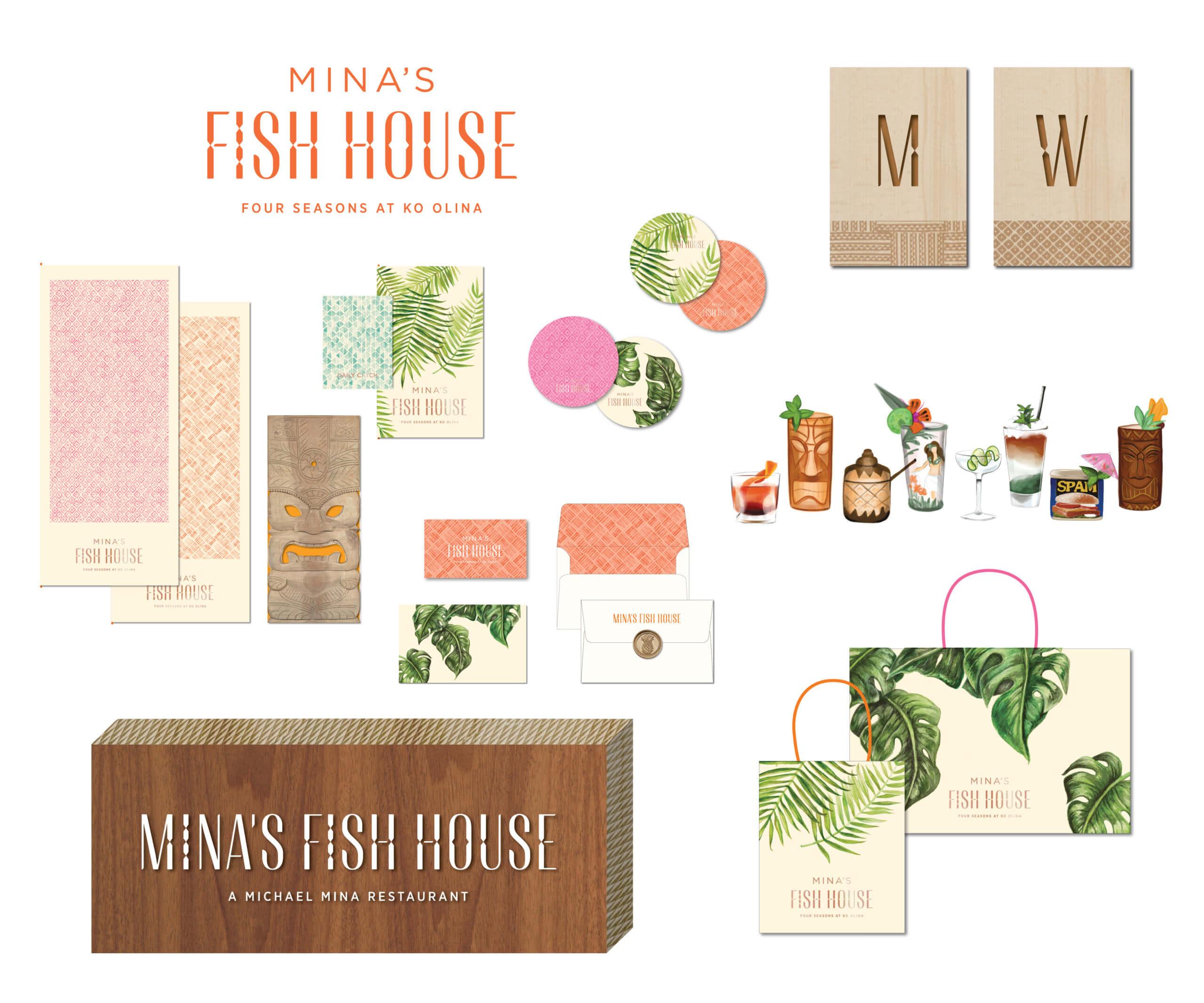 Mina Fish House print signage illustration